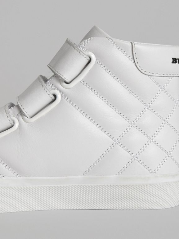 Quilted Leather High-top Sneakers in Optic White | Burberry Hong Kong - cell image 1