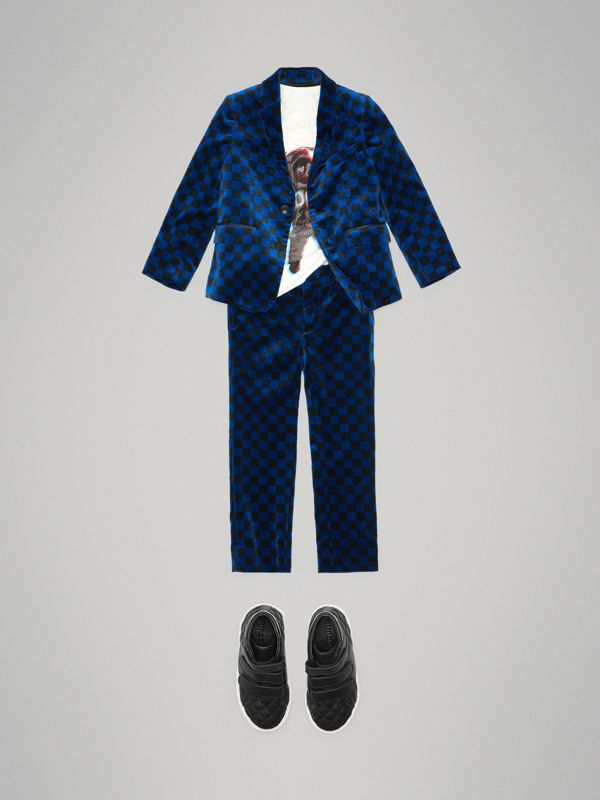 Chequer Stretch Velvet Jacket in Bright Blue | Burberry Hong Kong - cell image 2