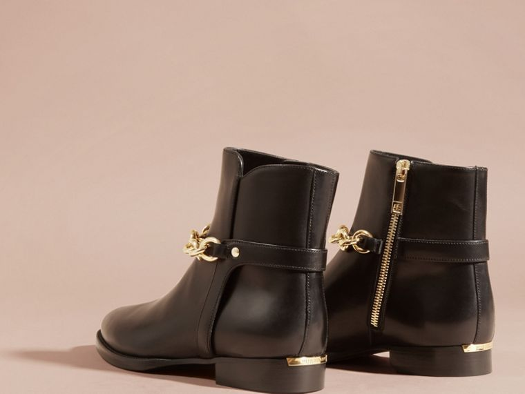 Black Chain Detail Leather Ankle Boots - cell image 4