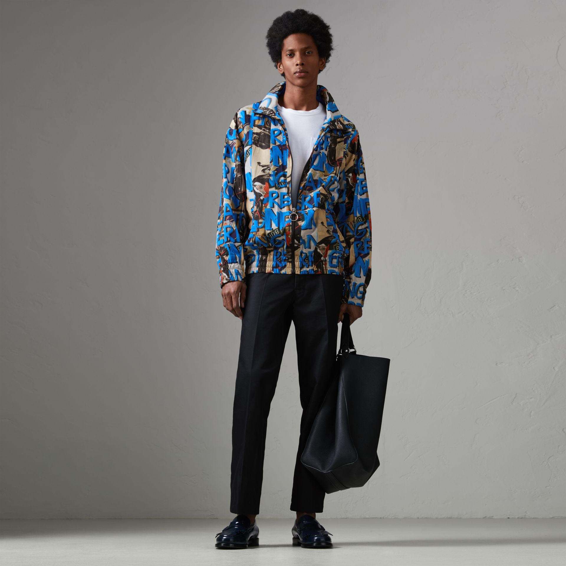 Graffiti Archive Scarf Print Shell Jacket in Antique Yellow - Men | Burberry Hong Kong - gallery image 0