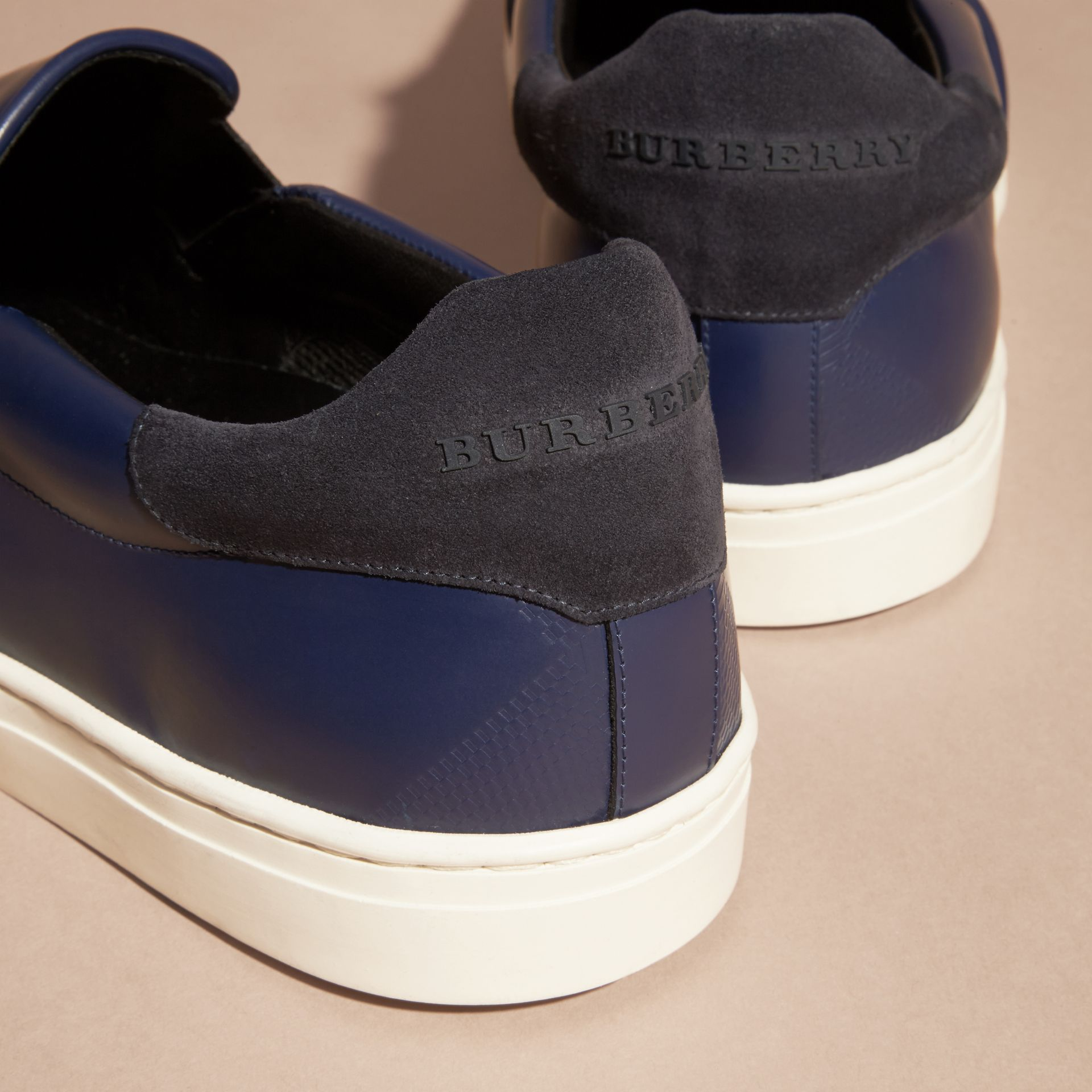 Lapis blue Check-embossed Leather Slip-on Trainers - gallery image 4
