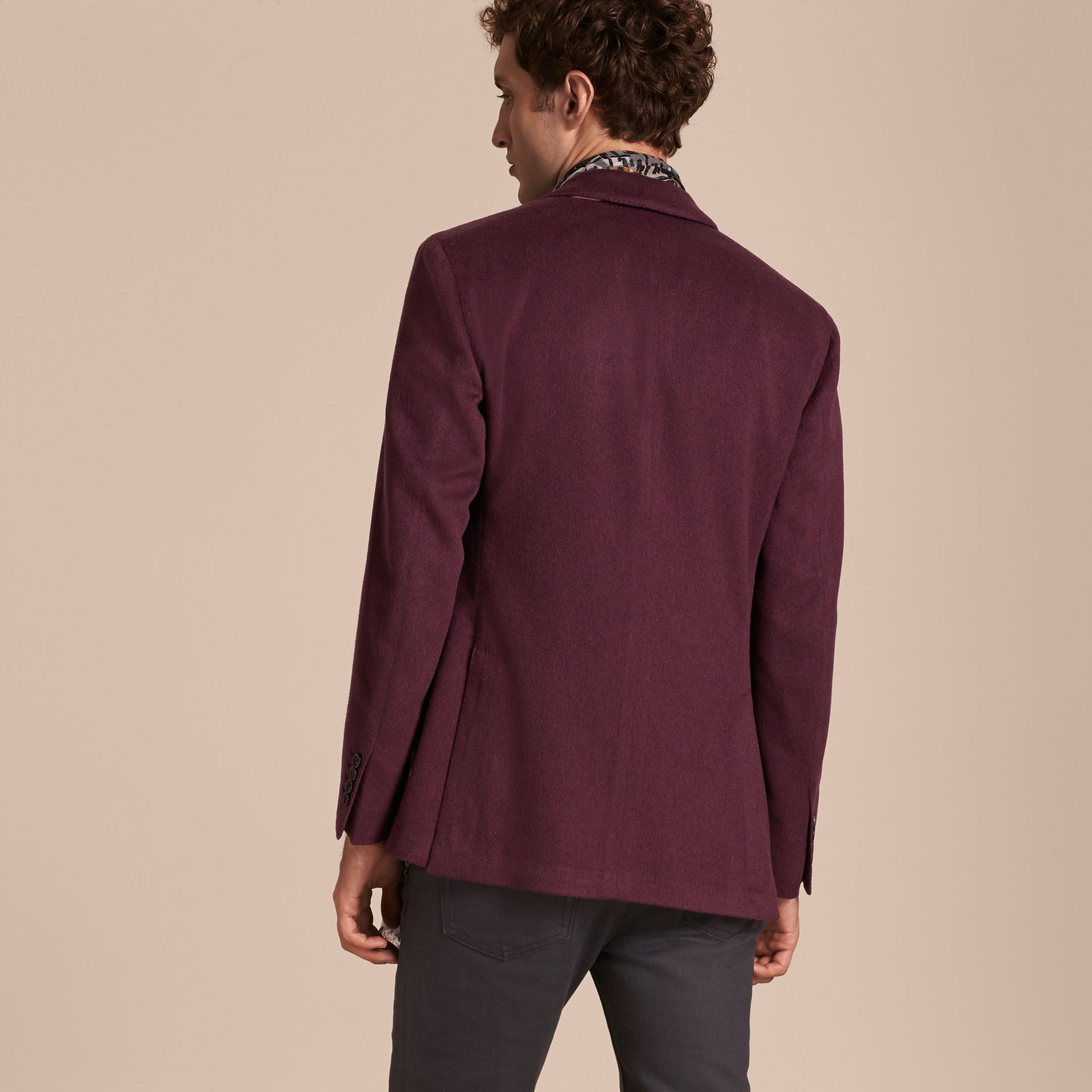 Modern Fit Lightweight Cashmere Tailored Jacket Deep Claret - gallery image 3
