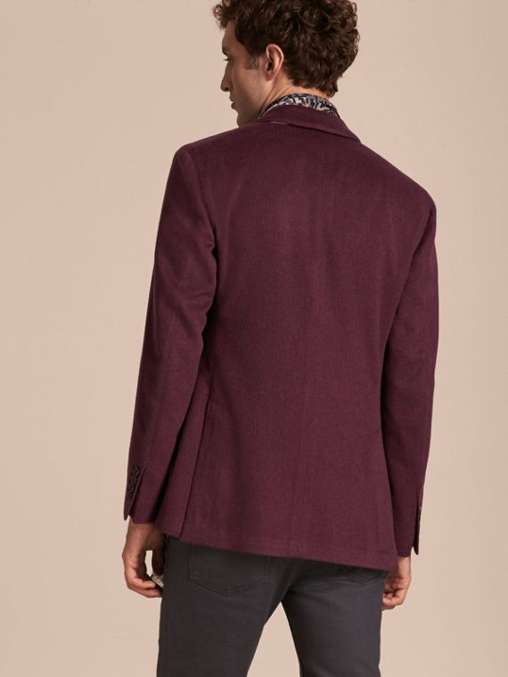 Modern Fit Lightweight Cashmere Tailored Jacket Deep Claret - cell image 2