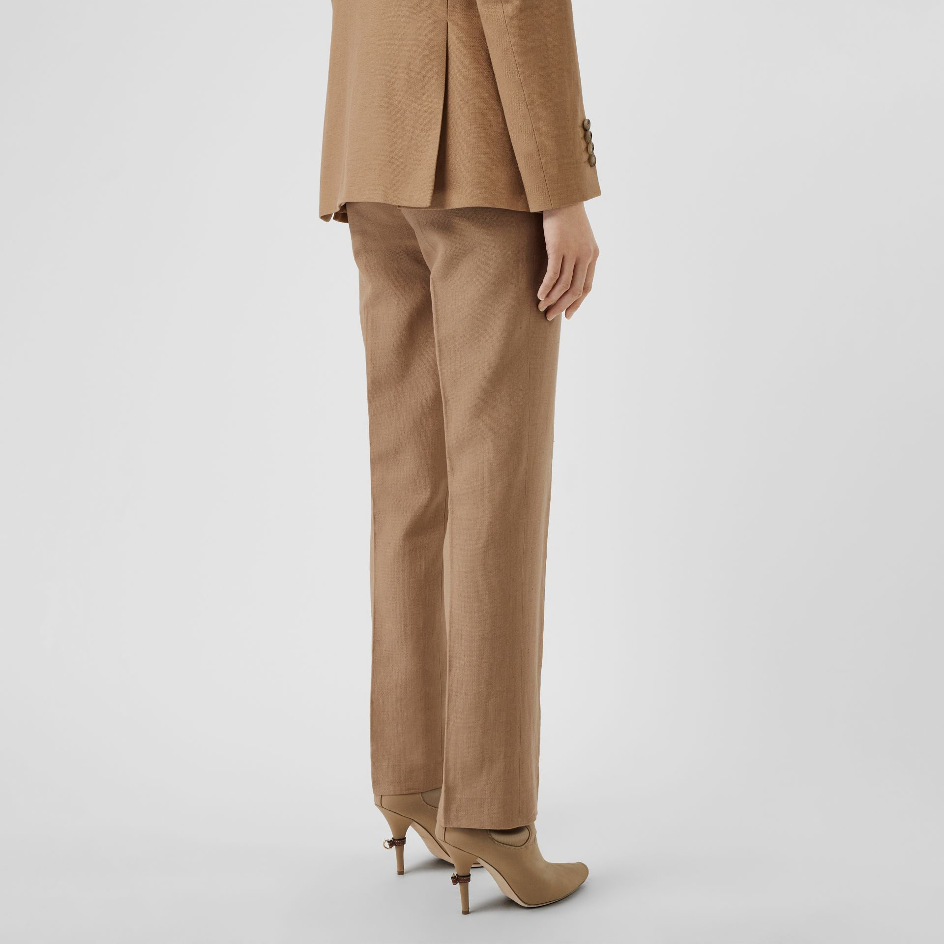 Cotton Linen Tailored Trousers in Ceramic Brown - Women | Burberry - gallery image 2