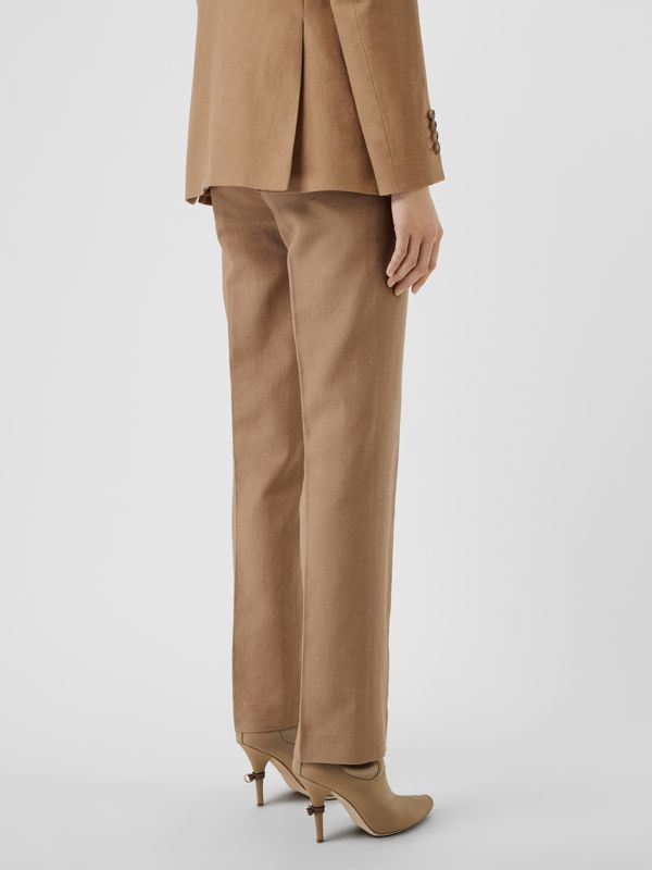 Cotton Linen Tailored Trousers in Ceramic Brown - Women | Burberry - cell image 2