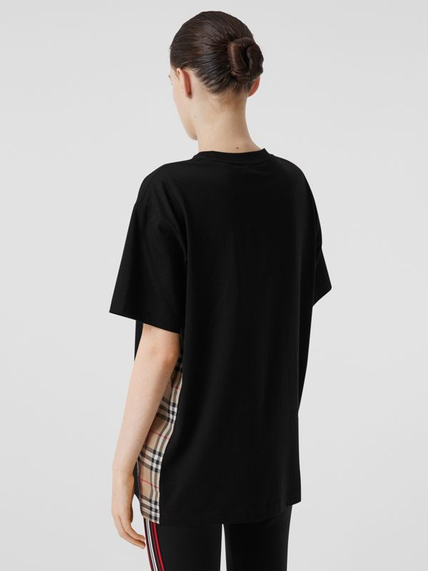 Vintage Check Panel Cotton Oversized T-shirt in Black - Women | Burberry United Kingdom - cell image 2