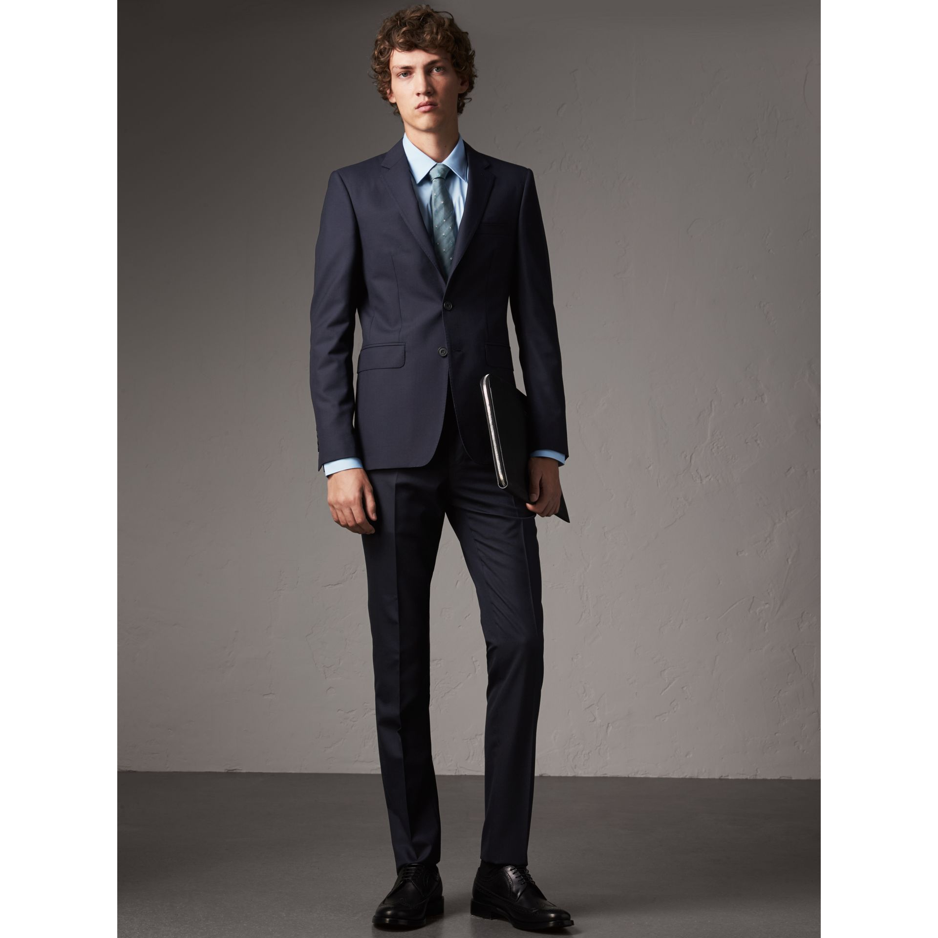 Slim Fit Stretch Cotton Shirt in City Blue - Men | Burberry United Kingdom - gallery image 4