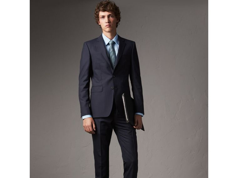 Slim Fit Stretch Cotton Shirt in City Blue - Men | Burberry United Kingdom - cell image 4
