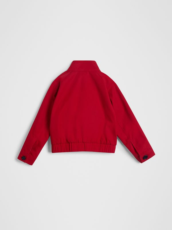 Reversible Check Cotton Harrington Jacket in Bright Red | Burberry - cell image 2