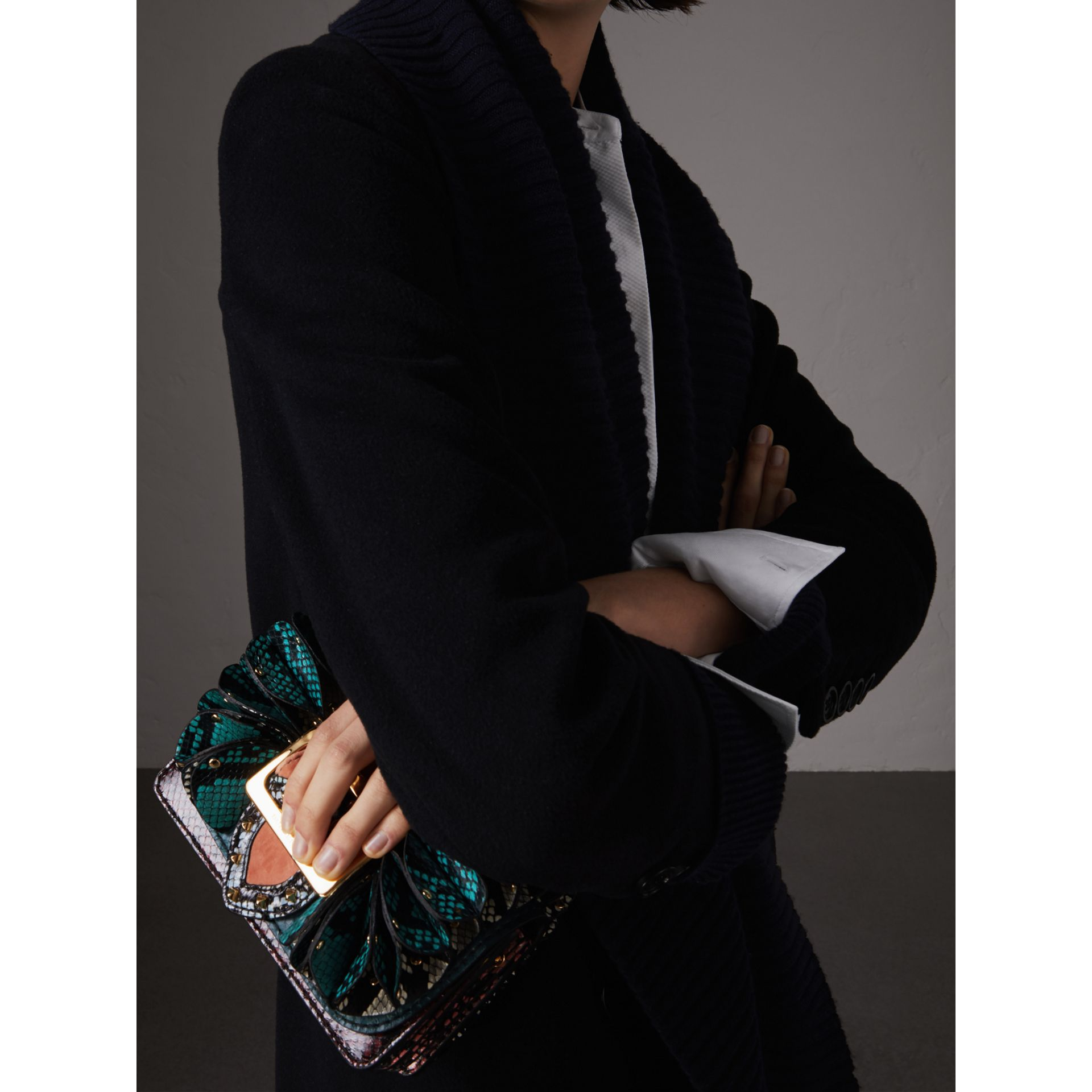 The Ruffle Buckle Bag in Snakeskin and Velvet in Teal - Women | Burberry United States - gallery image 3
