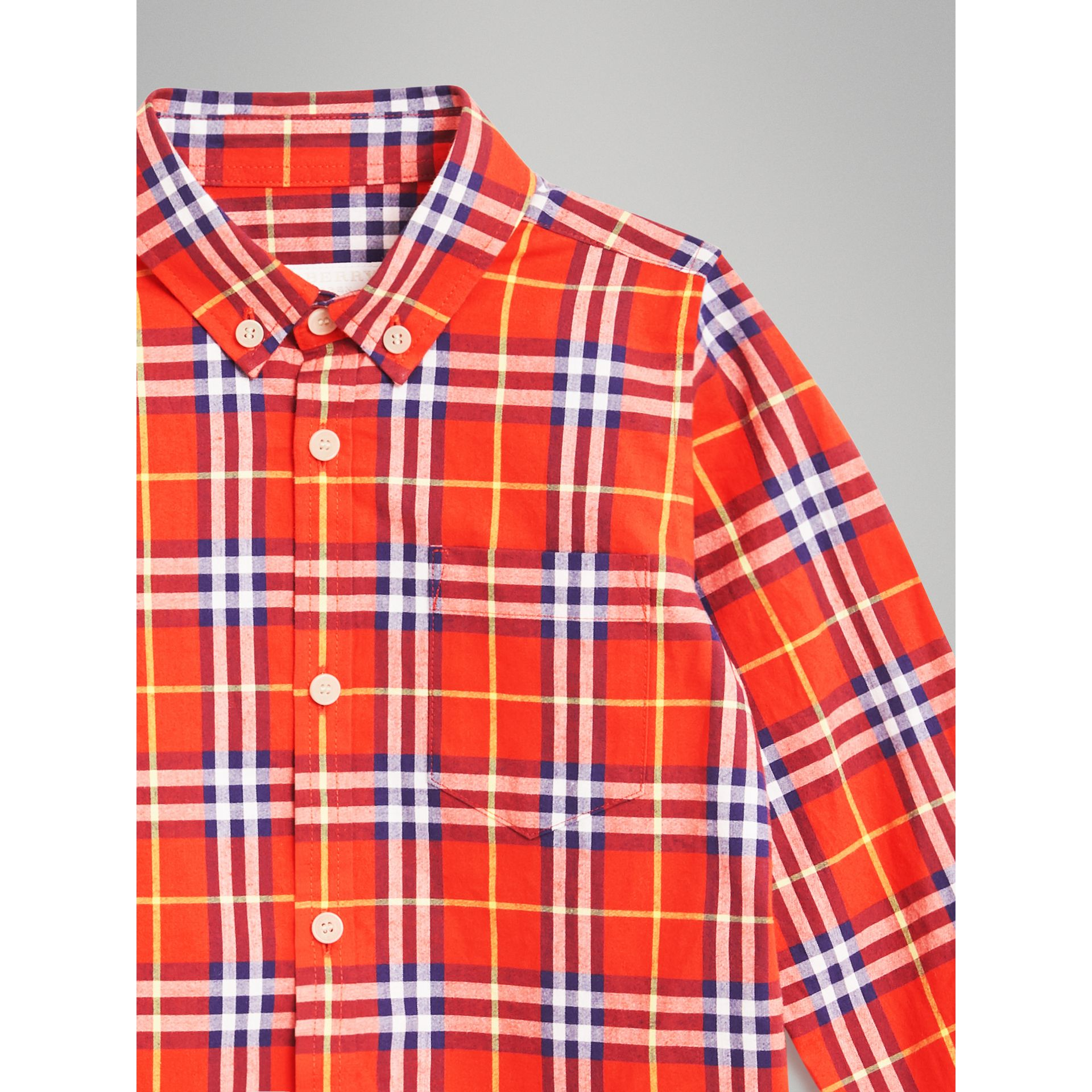 Button-down Collar Check Flannel Shirt in Orange Red | Burberry Australia - gallery image 4