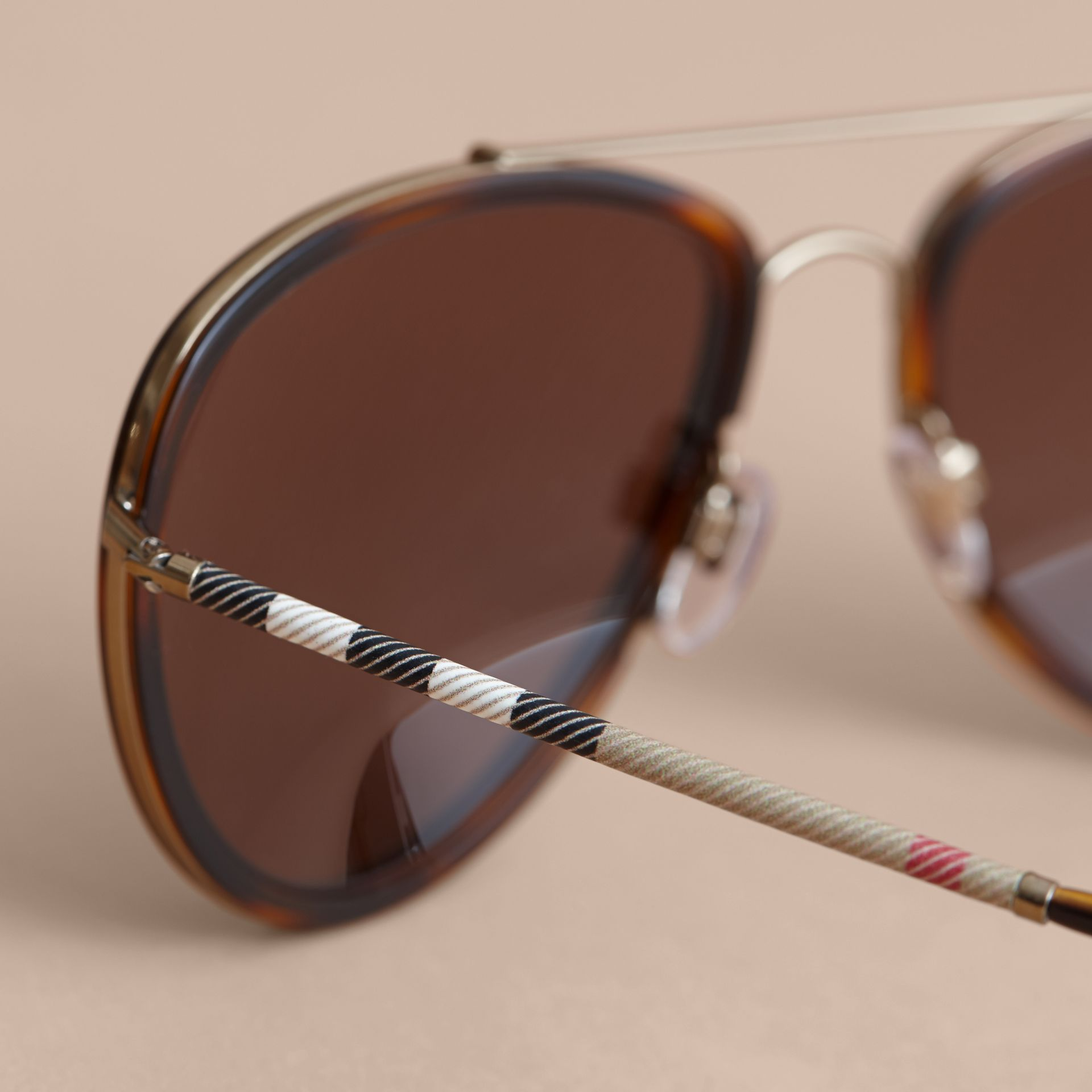Check Detail Pilot Sunglasses in Tortoise Shell - Men | Burberry United Kingdom - gallery image 1