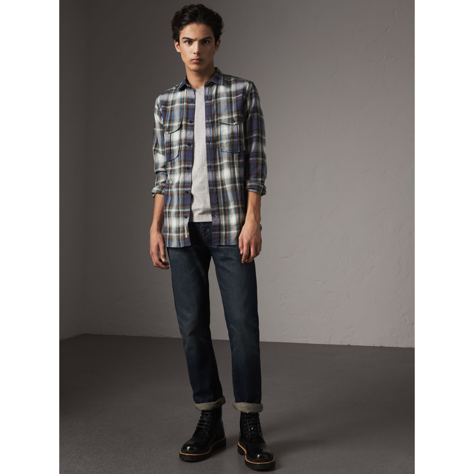 Check Wool Linen Cotton Flannel Shirt in Ink Blue - Men | Burberry - gallery image 1