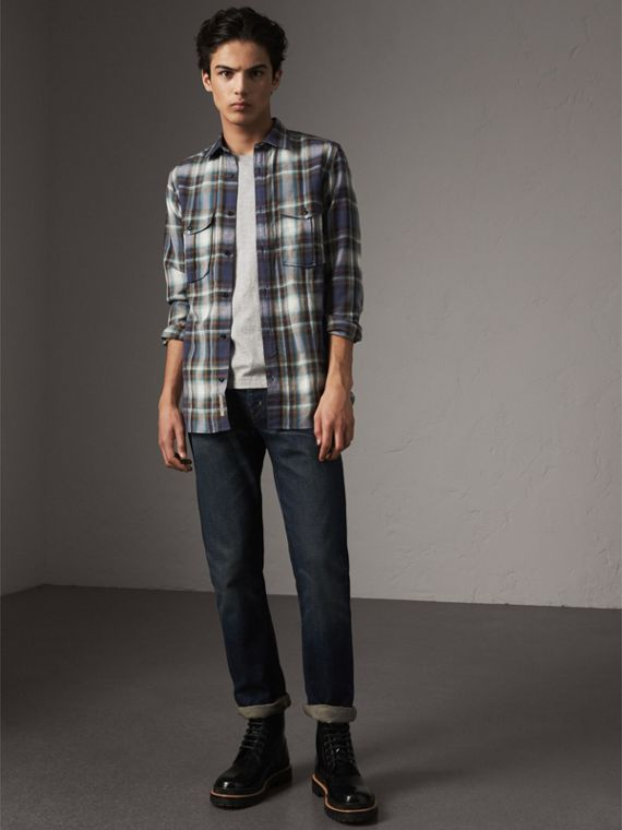 Check Wool Linen Cotton Flannel Shirt in Ink Blue