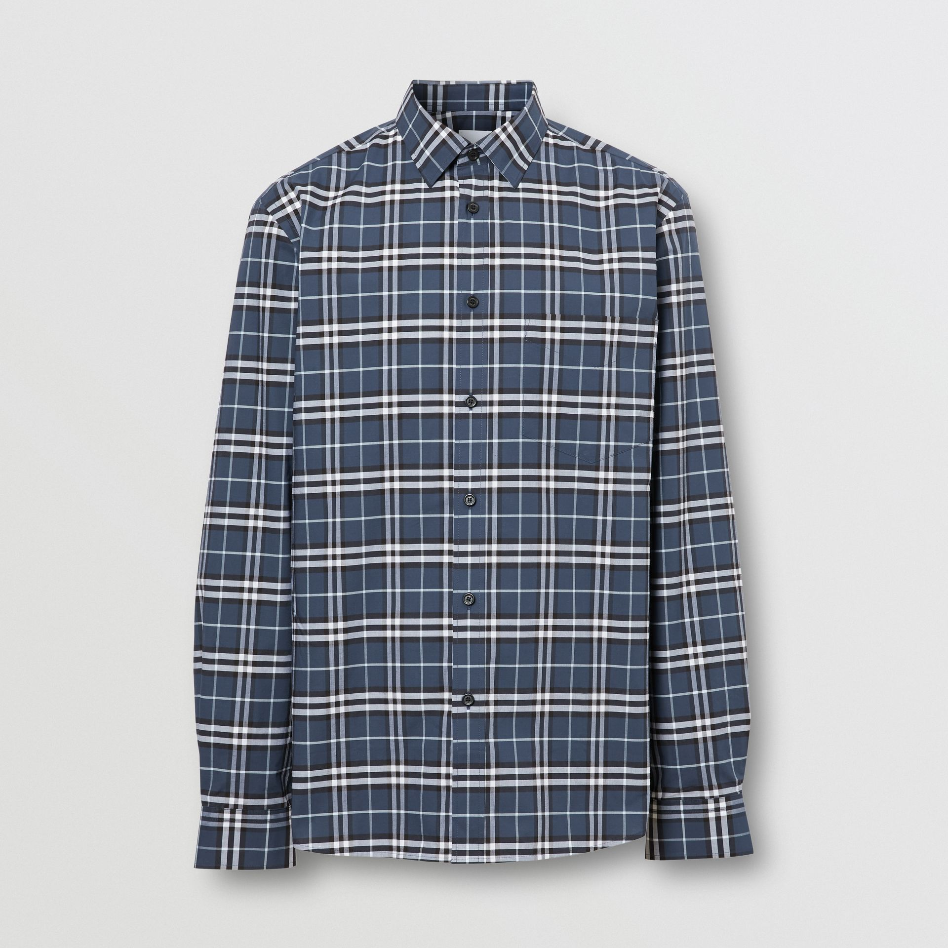 Small Scale Check Stretch Cotton Shirt in Dark Navy - Men | Burberry Hong Kong S.A.R - gallery image 3