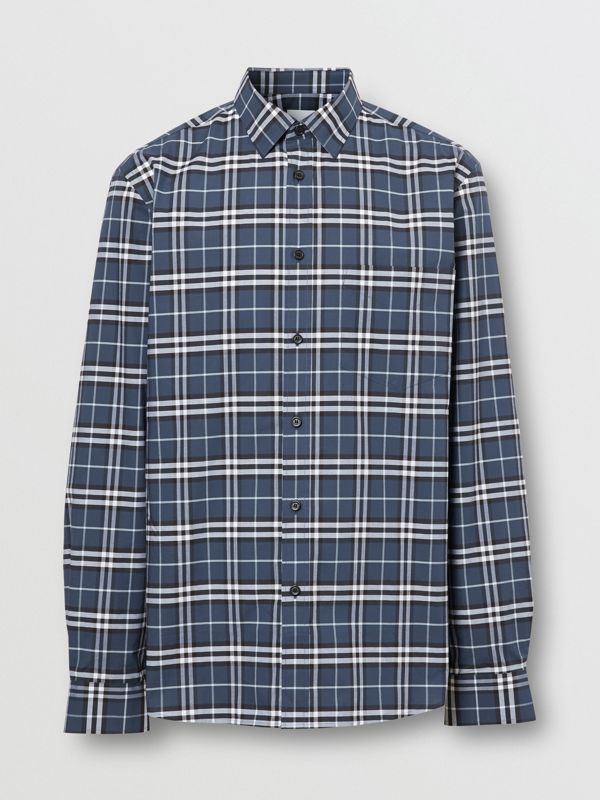 Small Scale Check Stretch Cotton Shirt in Dark Navy - Men | Burberry - cell image 3