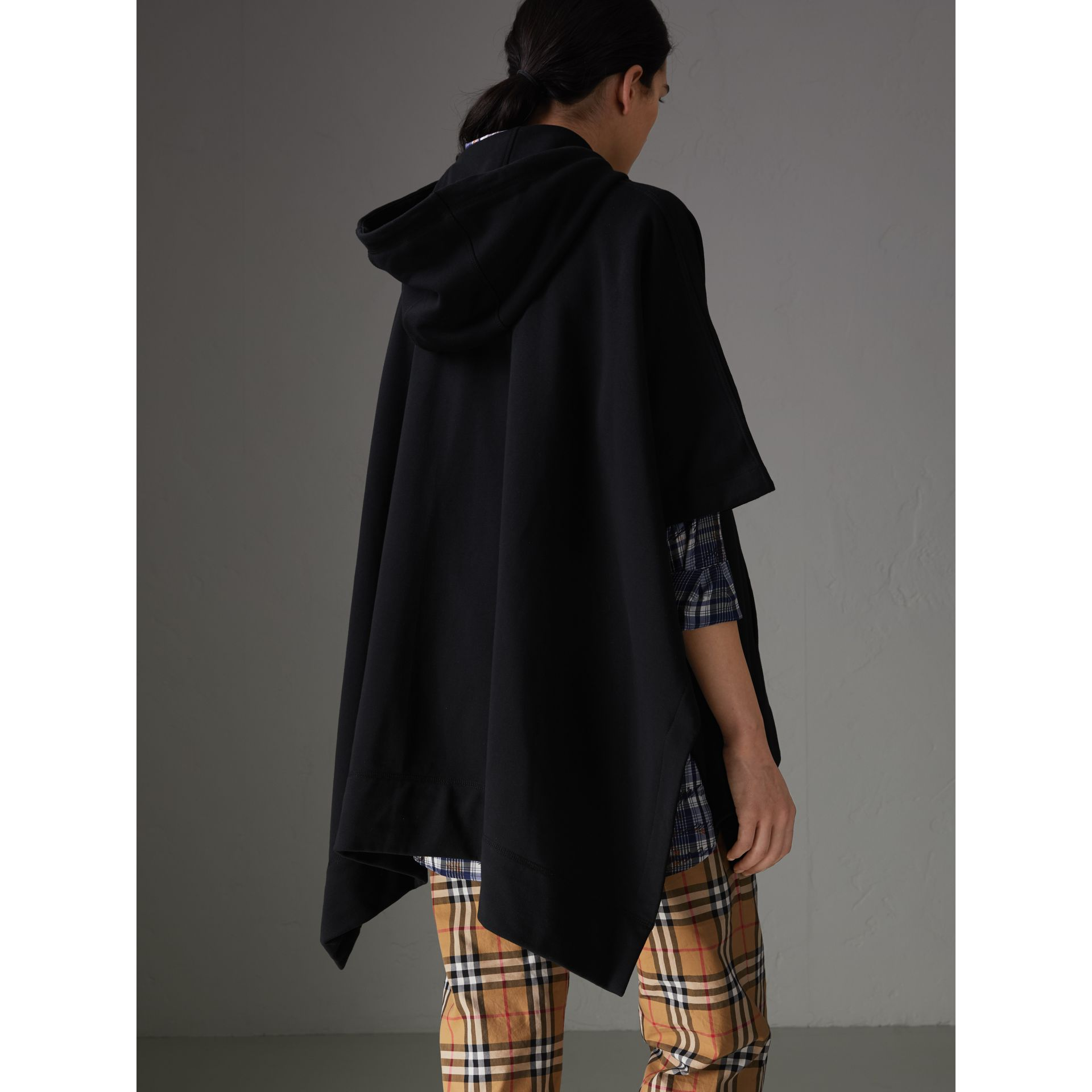 Cotton Jersey Hooded Cape in Black - Women | Burberry - gallery image 2