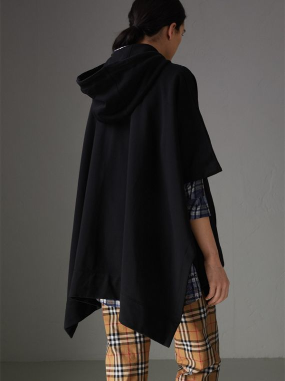 Cotton Jersey Hooded Cape in Black - Women | Burberry Australia - cell image 2