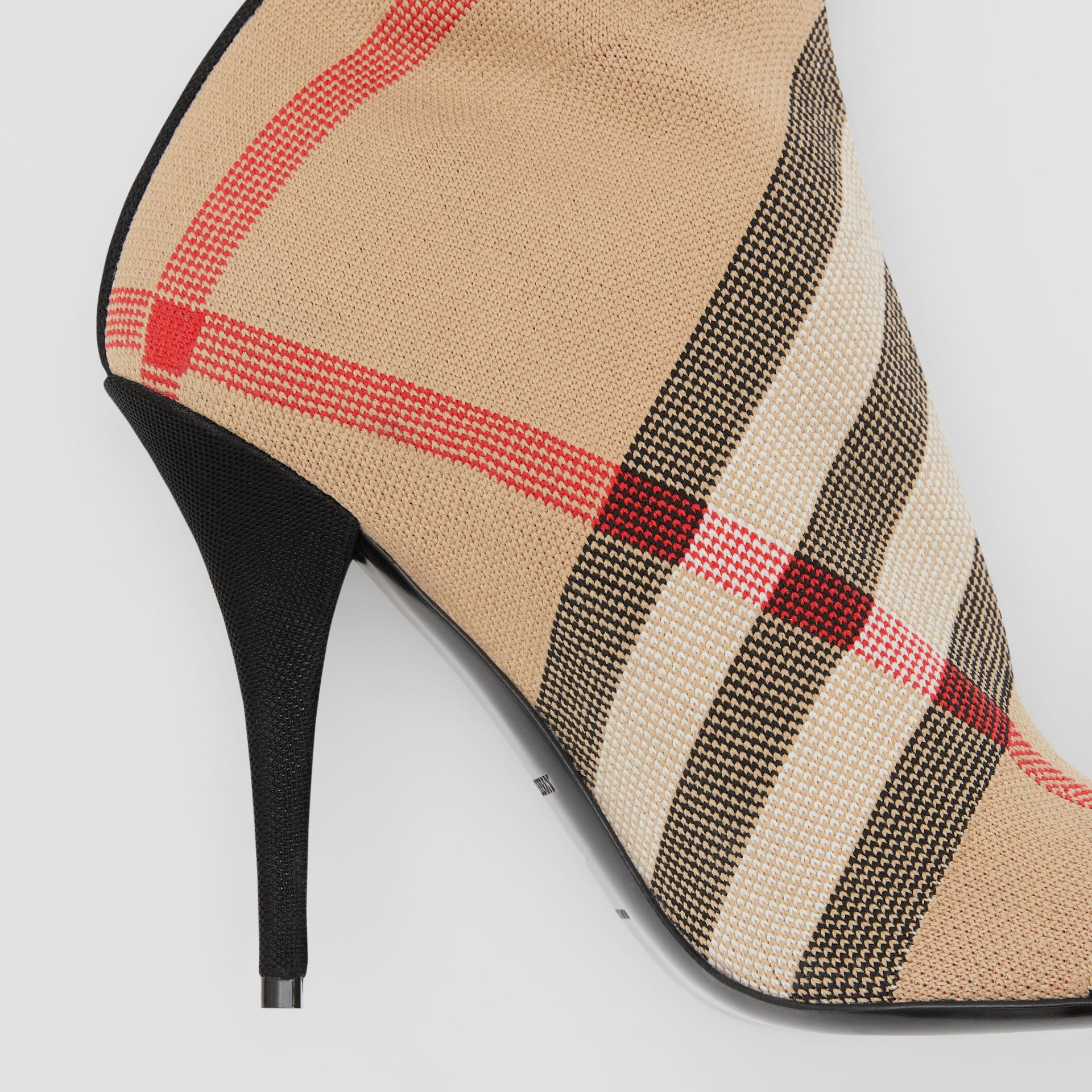 Check Stretch Knit Sock Boots in Archive Beige - Women | Burberry United Kingdom - gallery image 1