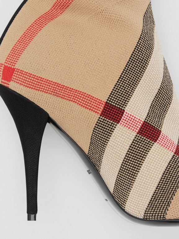 Check Stretch Knit Sock Boots in Archive Beige - Women | Burberry United Kingdom - cell image 1