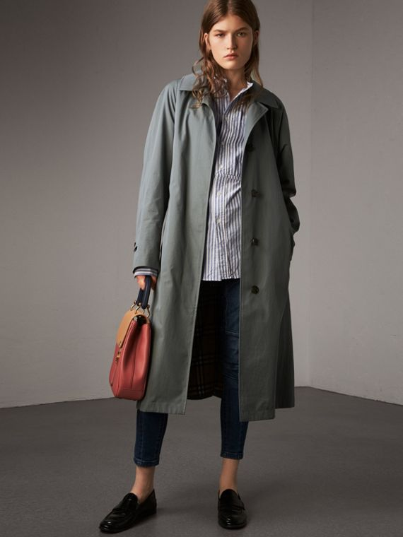 The Brighton – Extra-long Car Coat in Dusty Blue