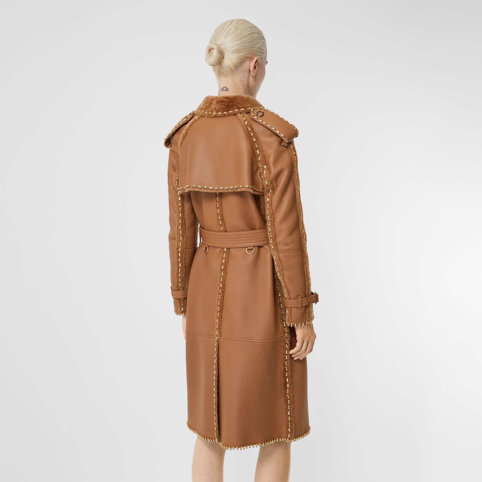 Embellished Shearling Trench Coat in Warm Camel - Women | Burberry - gallery image 2