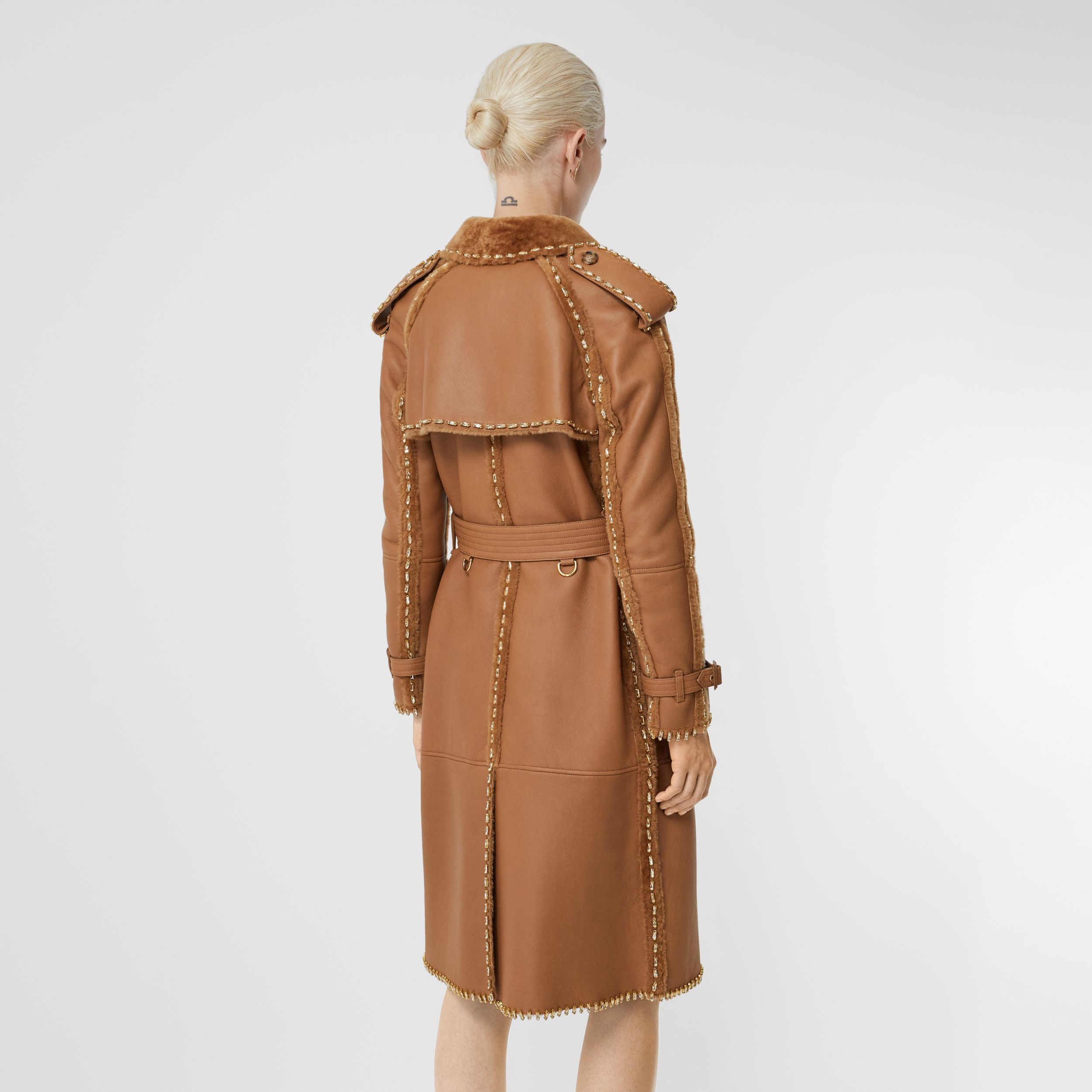 Embellished Shearling Trench Coat in Warm Camel - Women | Burberry Australia - 3