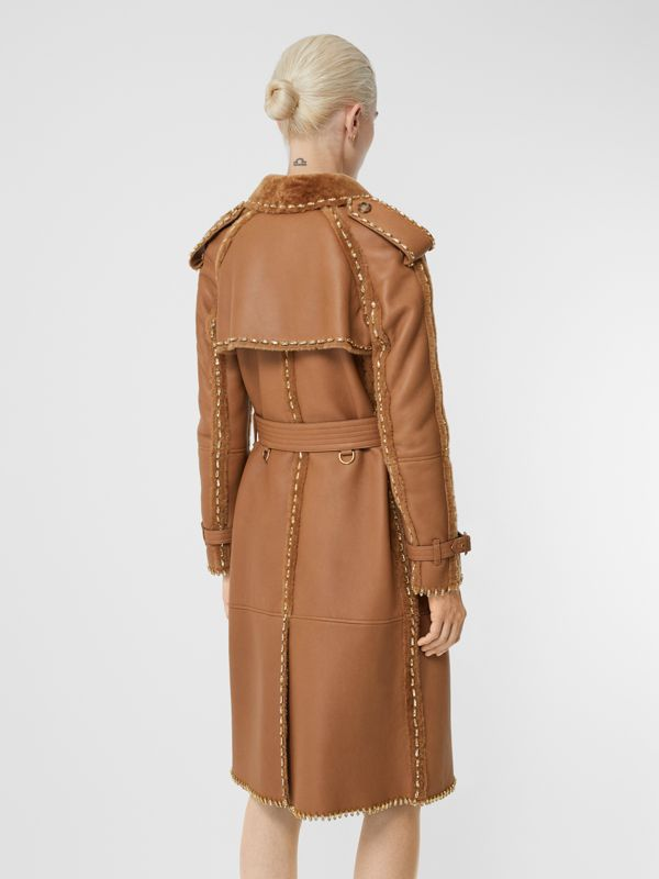 Embellished Shearling Trench Coat in Warm Camel - Women | Burberry - cell image 2
