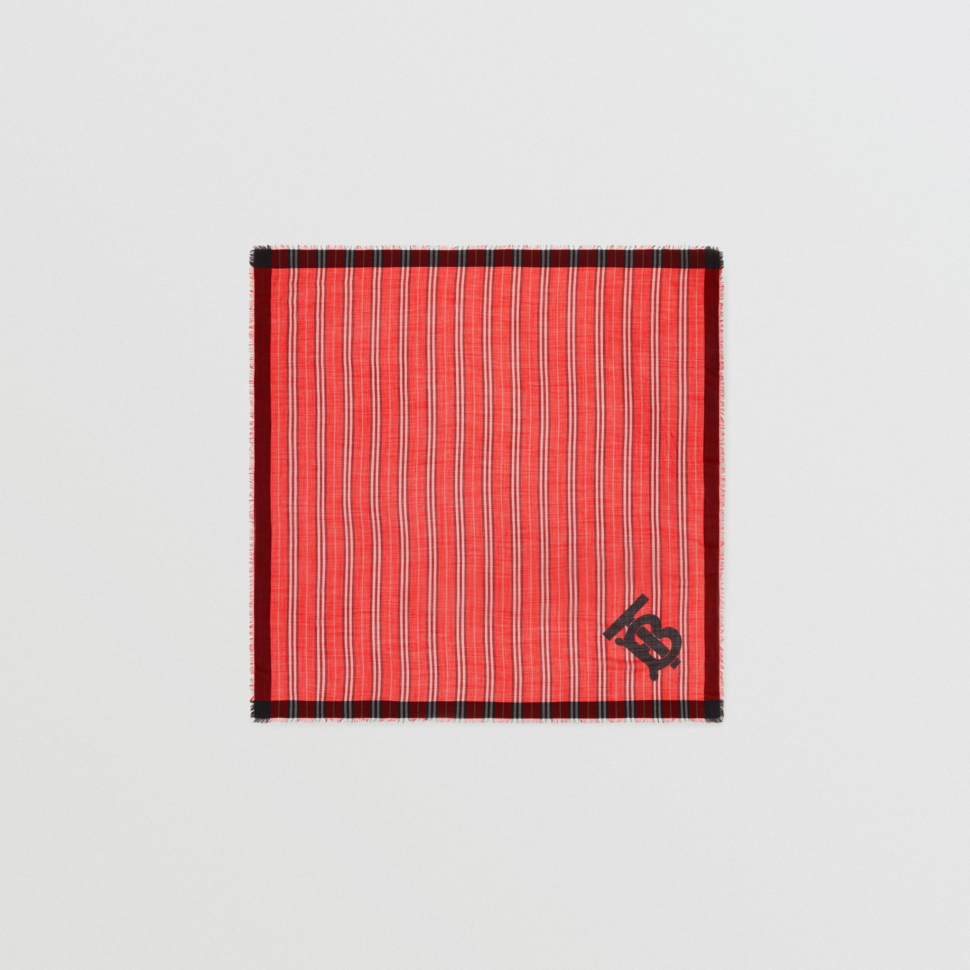 Monogram Icon Stripe Wool Silk Large Square Scarf in Bright Red | Burberry - gallery image 0