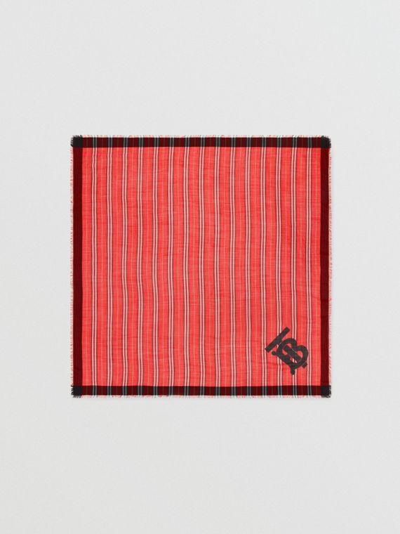 Monogram Icon Stripe Wool Silk Large Square Scarf in Bright Red