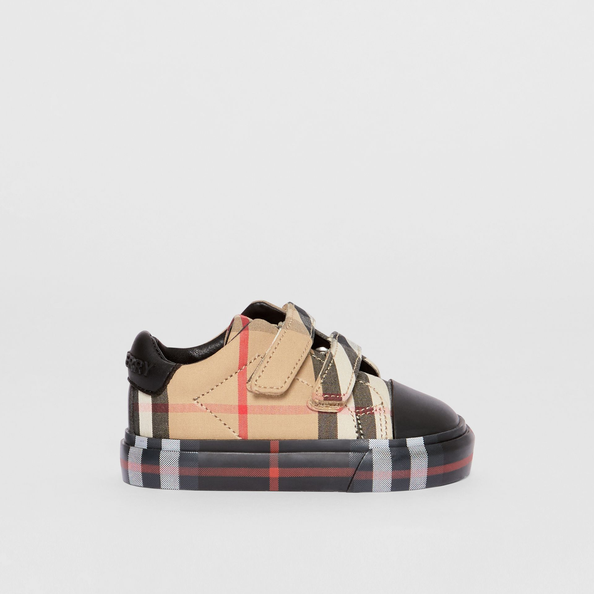Vintage Check Cotton Sneakers in Archive Beige/black - Children | Burberry Australia - gallery image 3