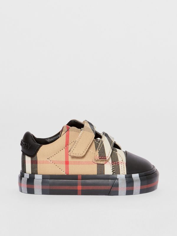 Vintage Check Cotton Sneakers in Archive Beige/black - Children | Burberry Hong Kong - cell image 3