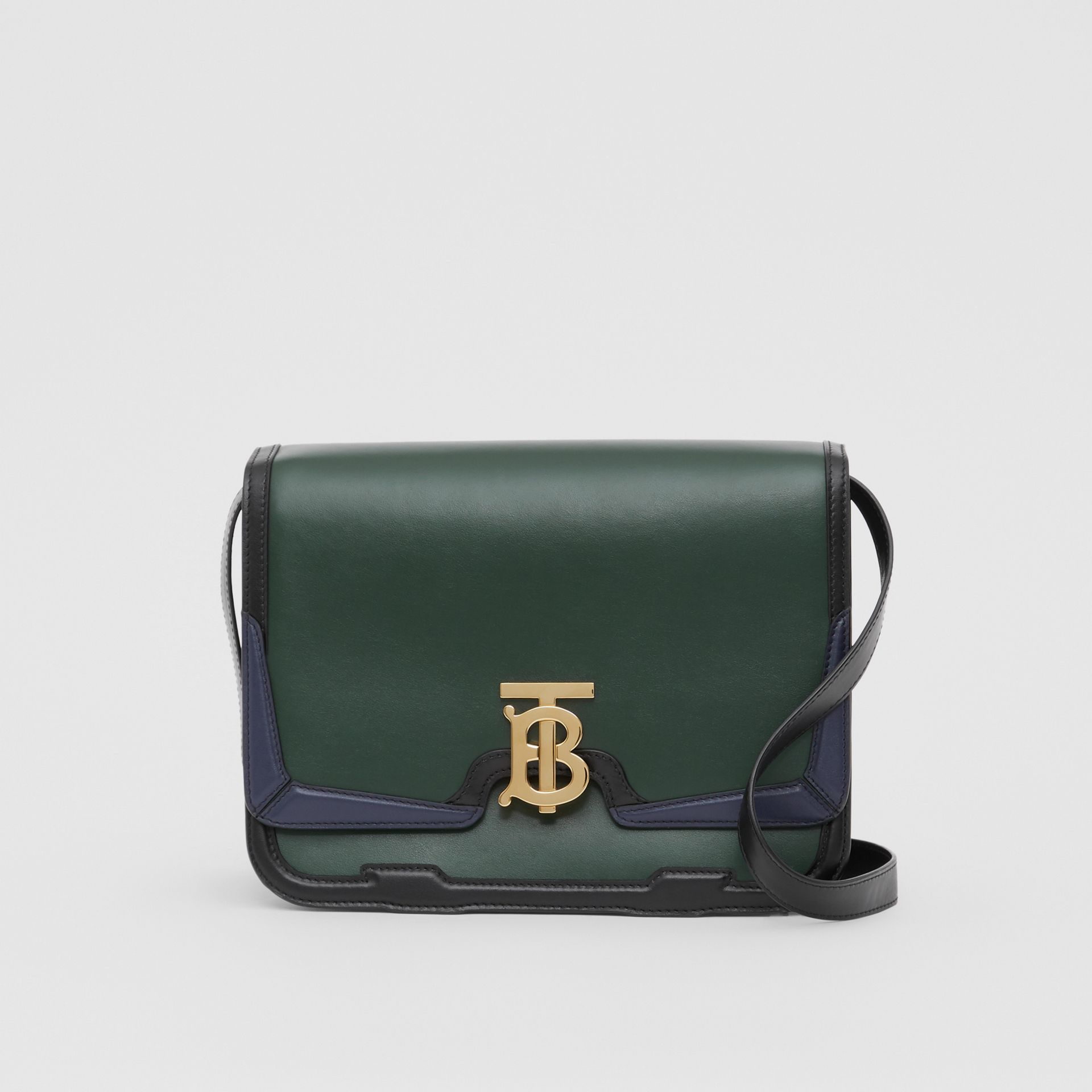 Medium Appliqué Leather TB Bag in Dark Pine Green - Women | Burberry United Kingdom - gallery image 0