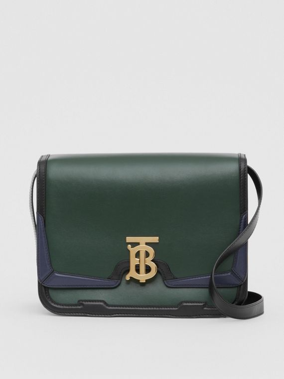 Medium Appliqué Leather TB Bag in Dark Pine Green