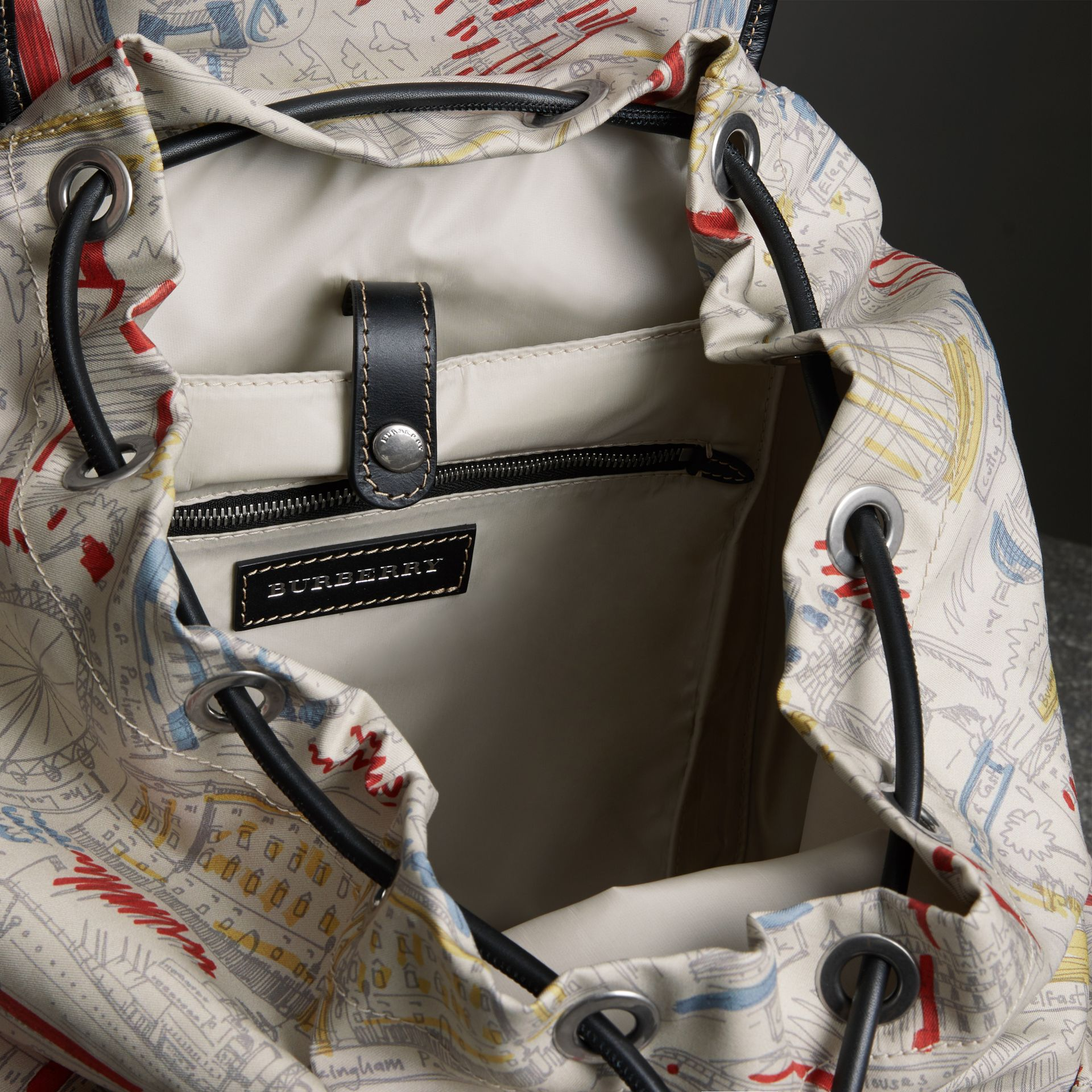 The Large Rucksack in London Print Canvas and Leather in Multicolour - Men | Burberry Singapore - gallery image 5