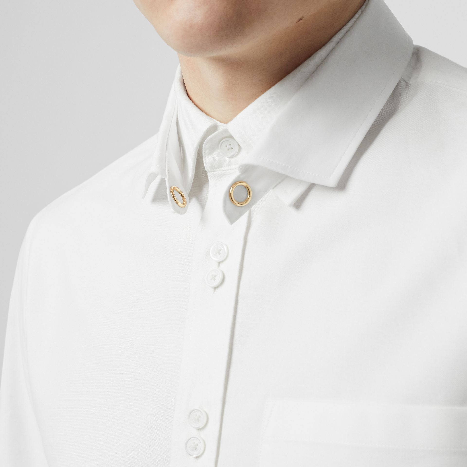 Classic Fit Detachable Collar Cotton Shirt in Optic White - Men | Burberry Singapore - gallery image 6
