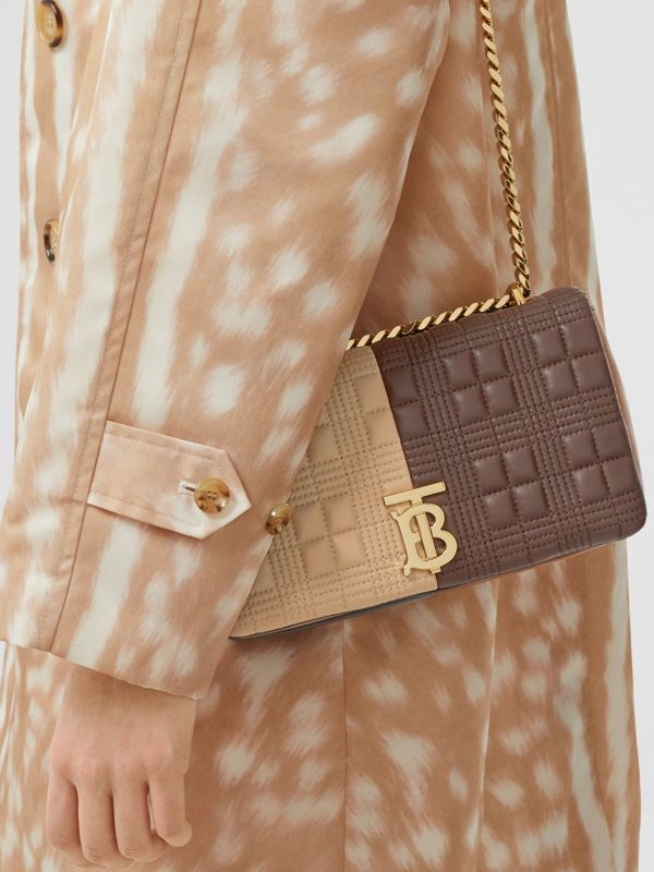Small Quilted Colour Block Lambskin Lola Bag in Soft Fawn/dark Mocha - Women | Burberry Canada - cell image 2