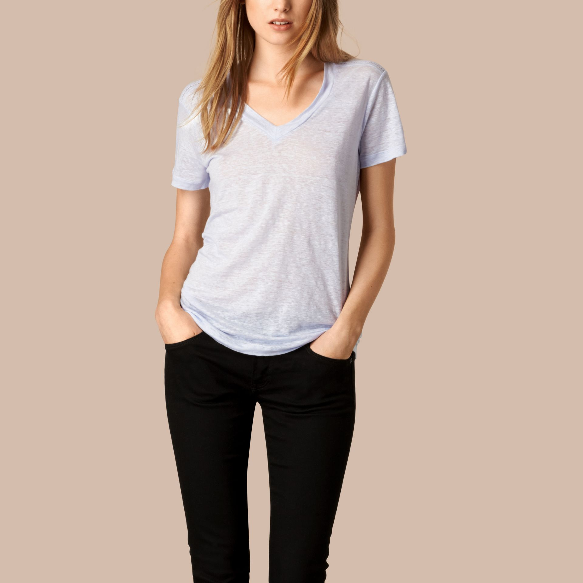 Sky blue V-Neck Open Stitch Detail Linen T-Shirt Sky Blue - gallery image 1