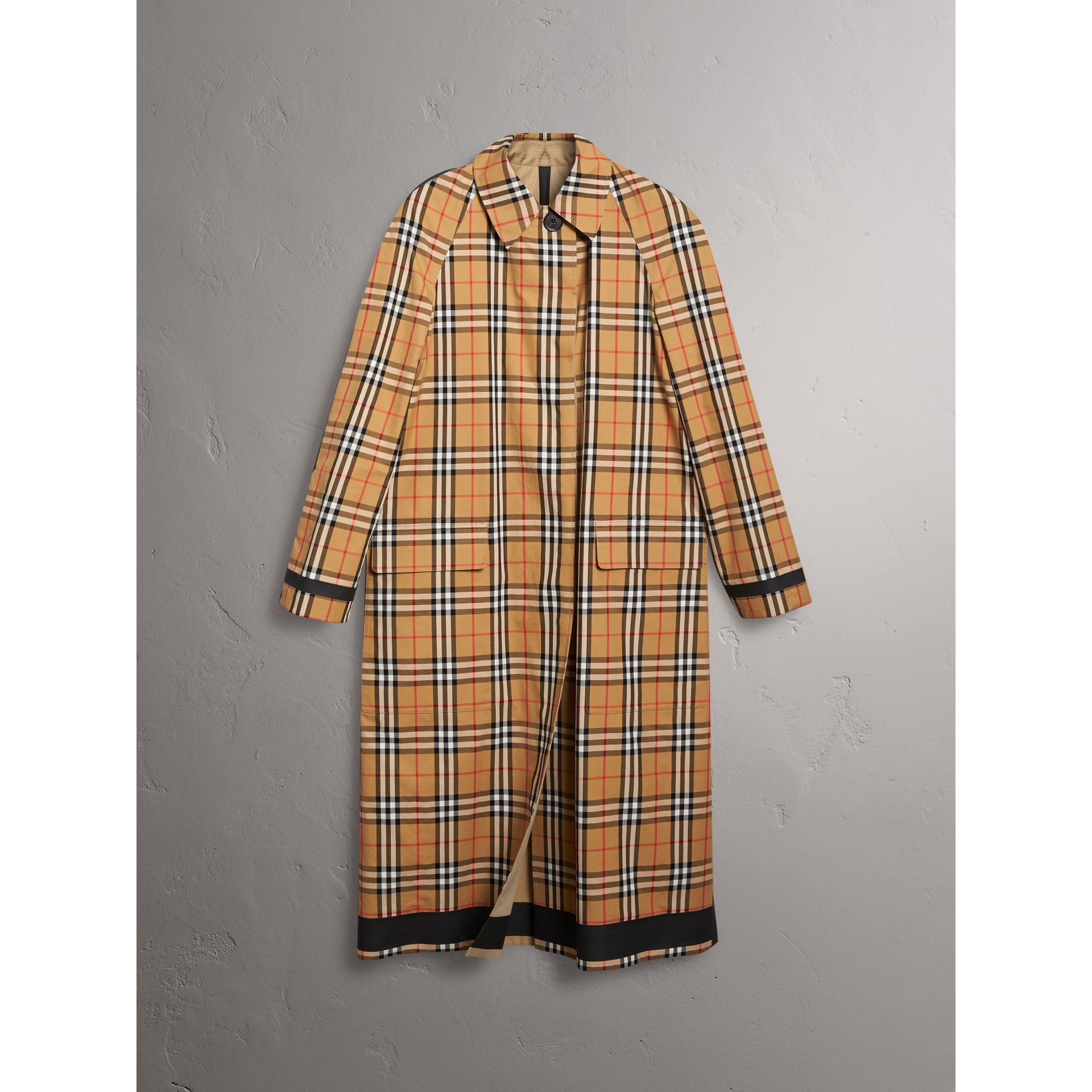 Reversible Vintage Check Gabardine Car Coat in Antique Yellow - Women | Burberry Australia - gallery image 3