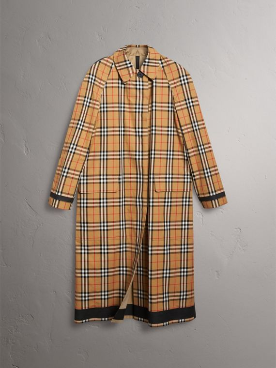 Reversible Vintage Check Gabardine Car Coat in Antique Yellow - Women | Burberry Australia - cell image 3