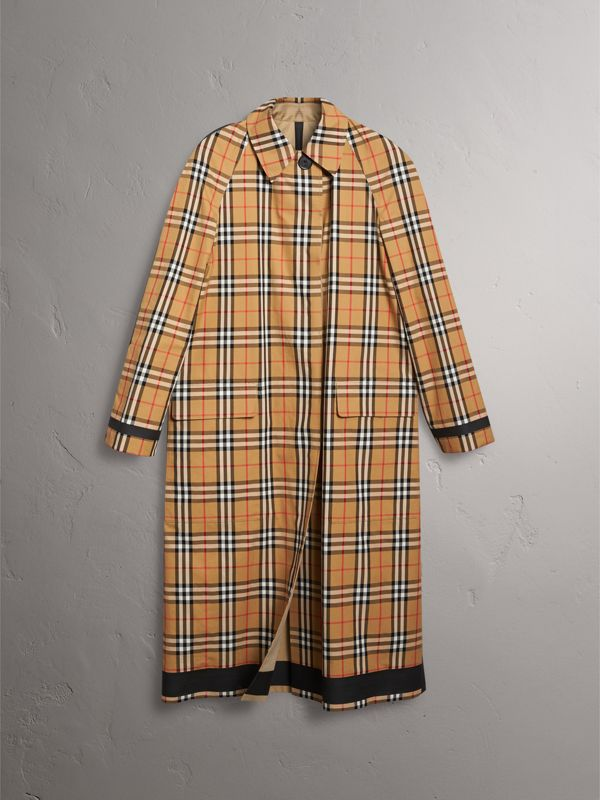 Reversible Vintage Check Gabardine Car Coat in Antique Yellow - Women | Burberry - cell image 3