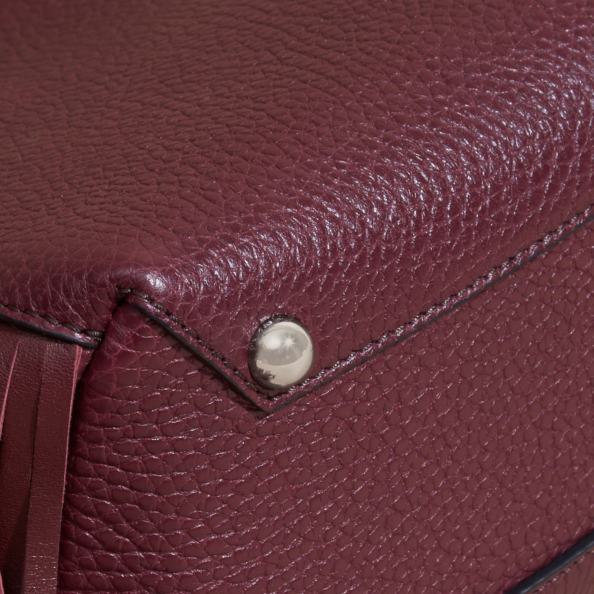 Dark damson The Baby Banner in Fringed Grainy Leather Dark Damson - gallery image 6