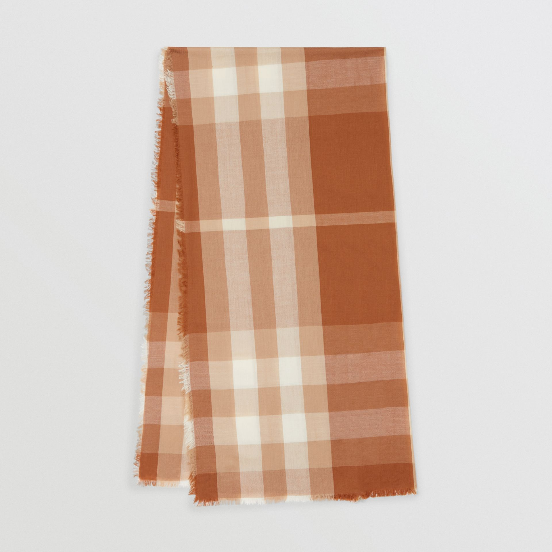 Lightweight Check Cashmere Scarf in Dark Camel | Burberry United Kingdom - gallery image 0