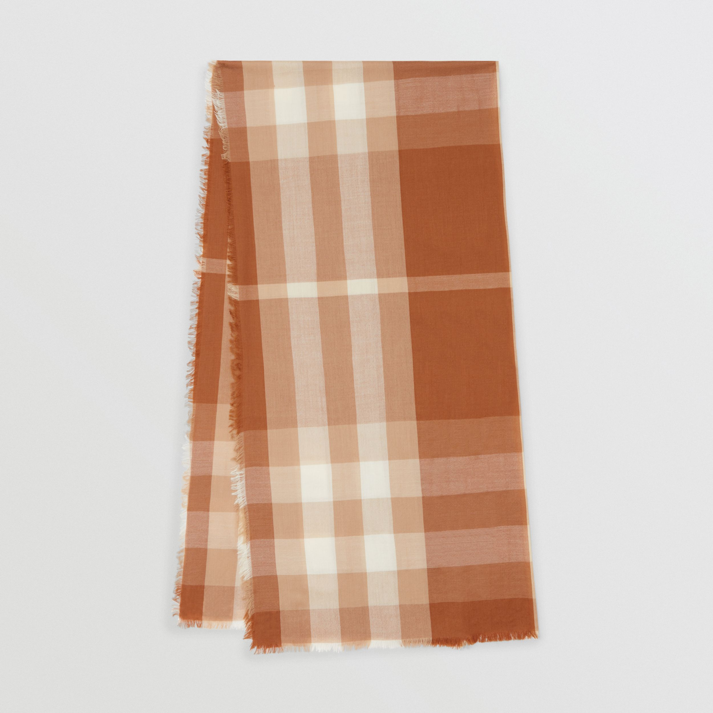 Lightweight Check Cashmere Scarf in Dark Camel | Burberry - 1