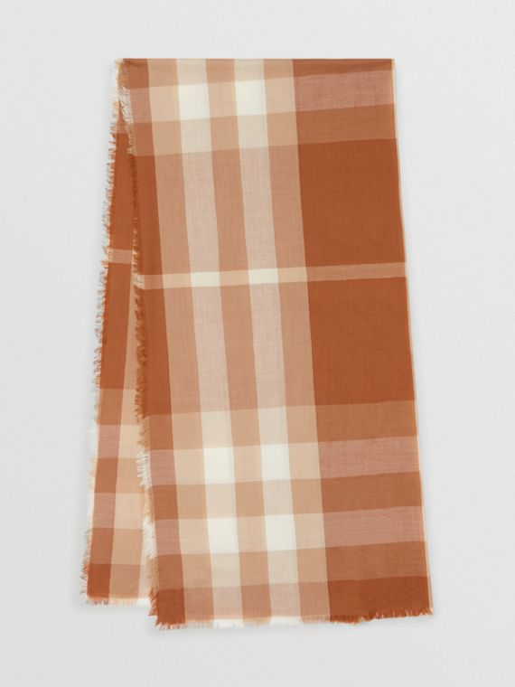 Lightweight Check Cashmere Scarf in Dark Camel