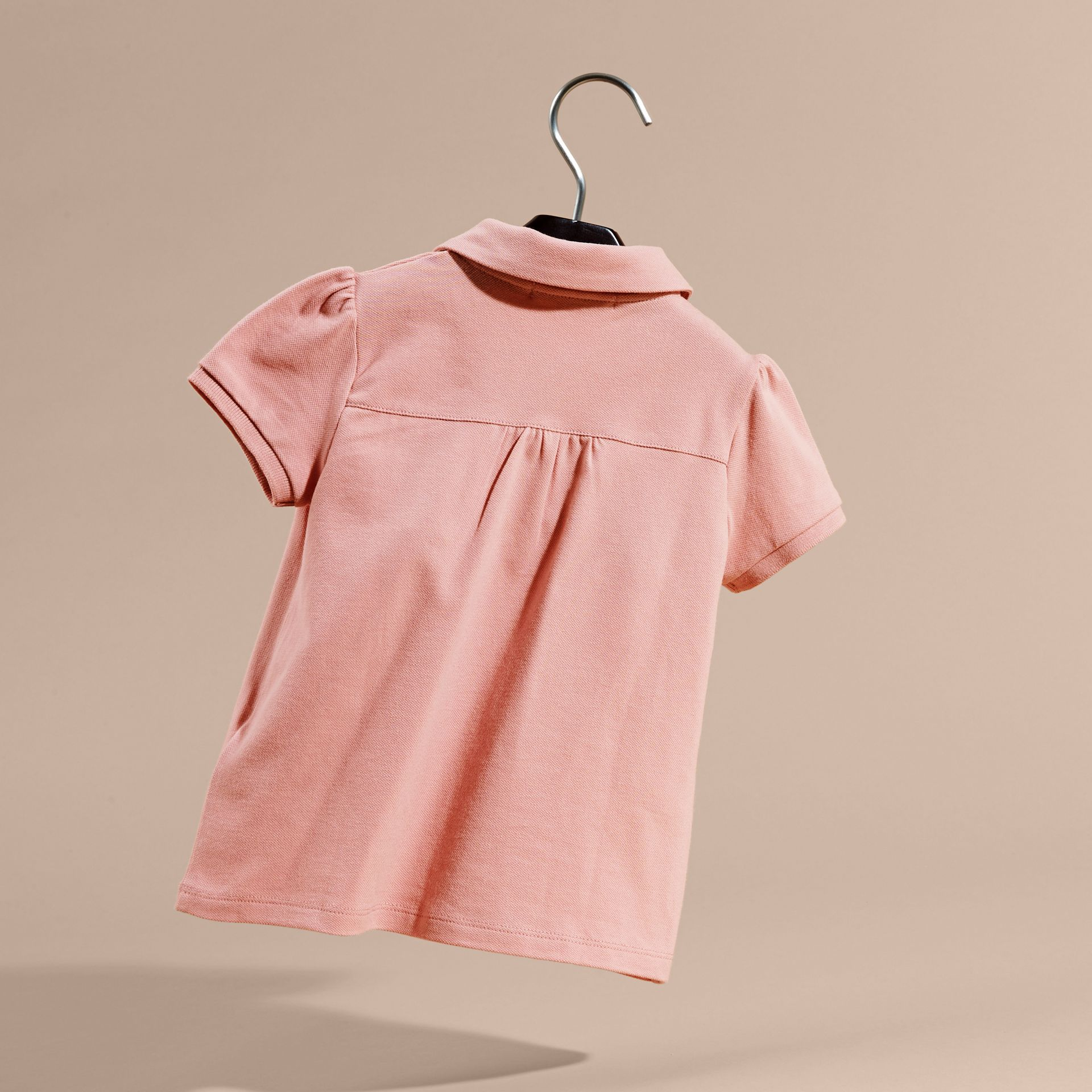 Ruched Detail Stretch Cotton Polo Shirt Ash Rose - gallery image 4