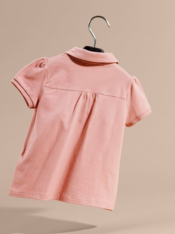 Ruched Detail Stretch Cotton Polo Shirt Ash Rose - cell image 3