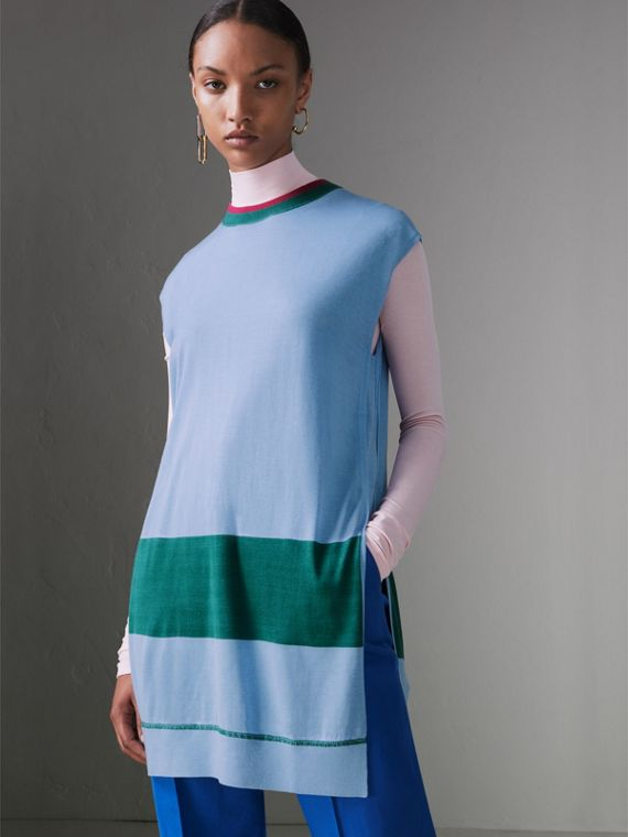 Stripe Detail Silk Cashmere Longline Tank Top in Pale Blue