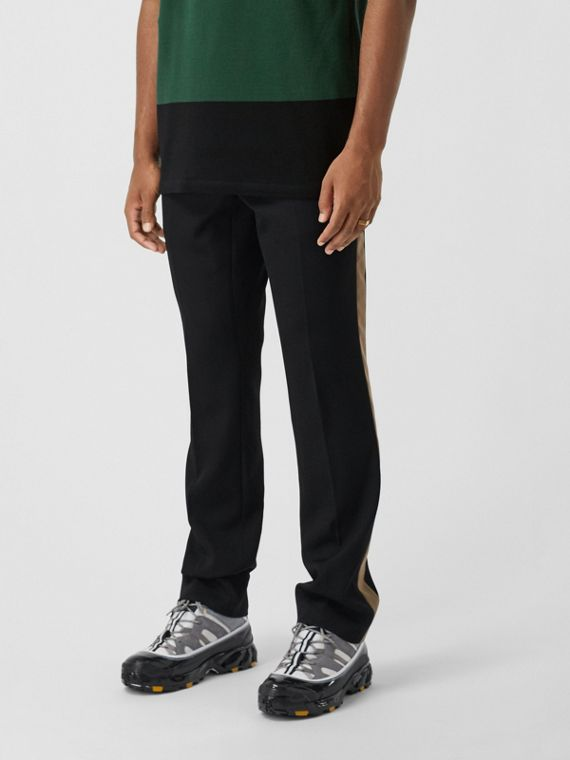Classic Fit Side Stripe Wool Tailored Trousers in Black