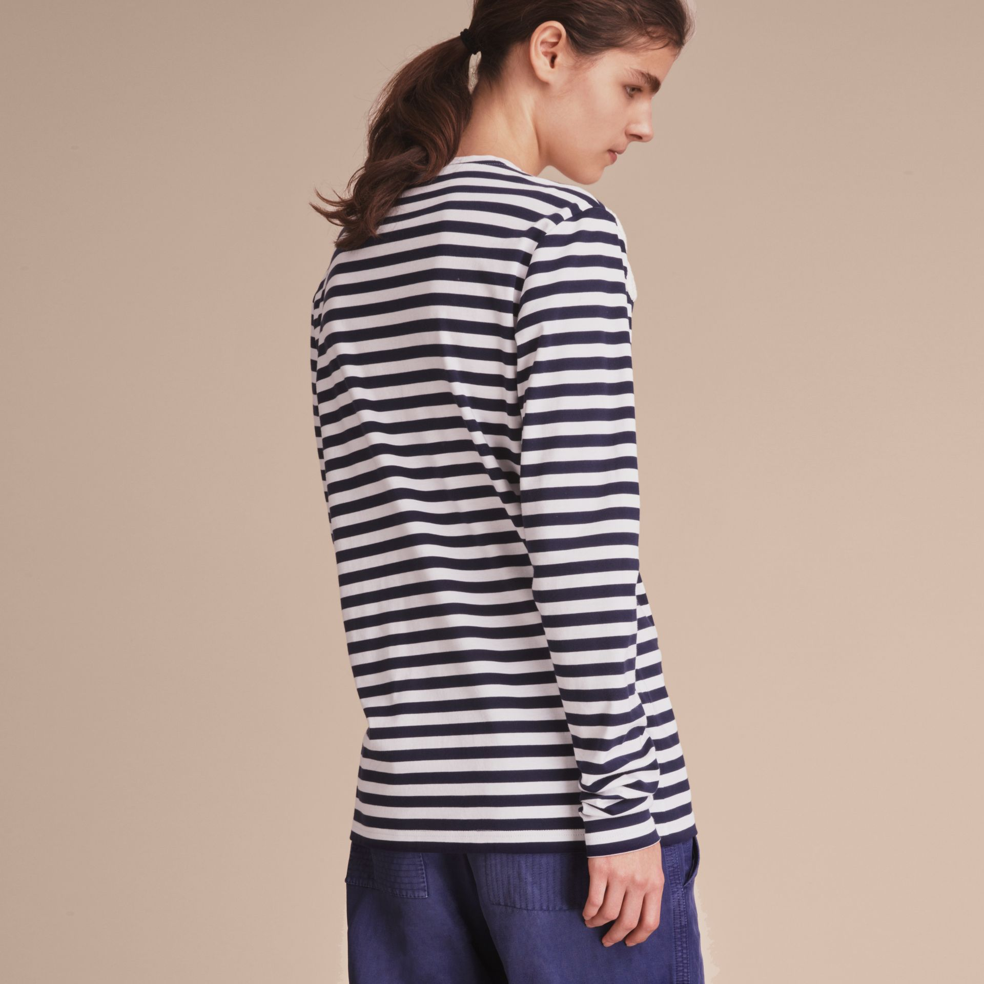 Unisex Lace Appliqué Breton Stripe Cotton Top - Women | Burberry - gallery image 5